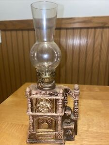 "Vintage 9.5"" grandfather clock design oil lamp"