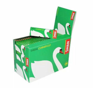 Swan-Standard-Size-Green-Corner-Cut-Cigarette-Rolling-Papers-50-Booklets