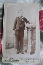 Photographie ancienne 1900 portrait garçon costume Photographe Klenscki Paris