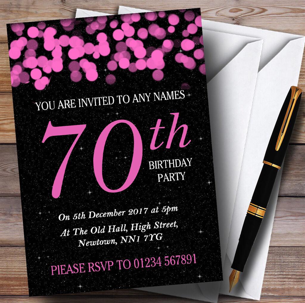 Rosa Bokeh Bokeh Bokeh & Stars 70th Personalised Birthday Party Invitations 09ada4