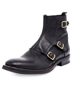 d4f592828e7 Image is loading Handmade-Mens-Black-Triple-Monk-Leather-Boots-High-