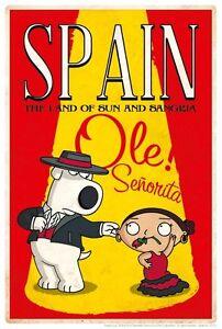 Family-Guy-falmenco-Taenzer-Brian-Stewie-Spanien-Spanische-Parodie-Reisen-Poster-Art
