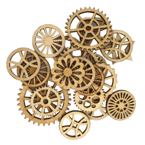 50pcs Unfinished Wood Hollow Gear Tags Cutout Wooden Pieces Embellishments