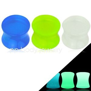 "1 Paire de Taille 1.3cm To 1 "" Pouce Phosphorescent Double Flared Selle Plugs KuWmZsP1-09095119-504733219"