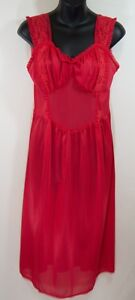 Vintage-Adonna-Penneys-Red-Lace-nylon-nightie-nightgown-lingerie-36