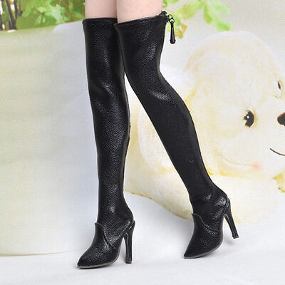 Handmade 1:6 Figure Accessory Black Over knee Long Boots High-heeled Shoe Model