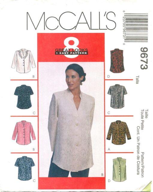 Mccalls 9673 Misses Tops Blouses Sewing Pattern Medium 12 14 Ebay