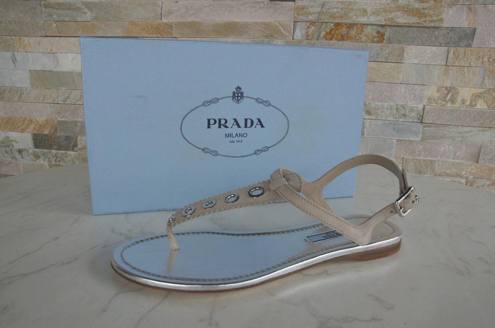 PRADA  38 Toes scarpe Sandals scarpe Toe Separators Quartz Beige NUOVO  in vendita