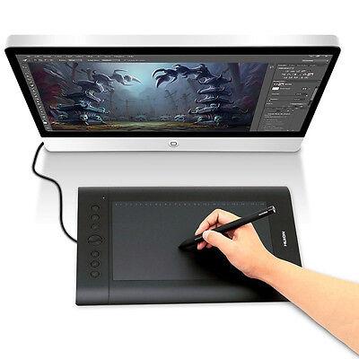 H610-Pro 10x6.25inch USB Art Graphics Huion Draw Tablet Pad Cordless Pen Hotkey