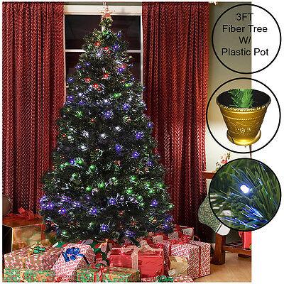 GREEN FIBER OPTIC CHRISTMAS TREE PRE LIT 8 FUNCTION INDOOR OUTDOOR 3/4/5/6FT