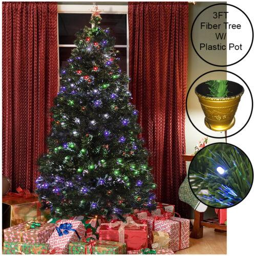 Vert fibre optique arbre de noël multi color light pre lit traditionnel 3//4//5//6FT