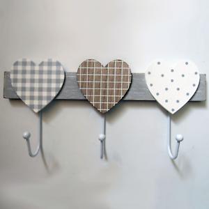 Coat-Hooks-Robe-Rack-Holder-3-Hearts-3-Hooks-Wooden-Grey-White-Shabby-Chic-30cm