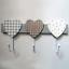 Coat-Hooks-Robe-Rack-Holder-3-Hearts-3-Hooks-Wooden-Grey-White-Shabby-Chic-30cm thumbnail 1
