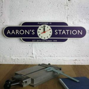 Railway-Totem-Station-Clock-Sign-Personalised-Metal-Sign-Train-Station-Clock