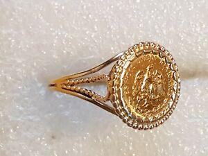 Bague Or jaune 18 carats 750 et 2 pesos 22k. T 58  5,3 gr
