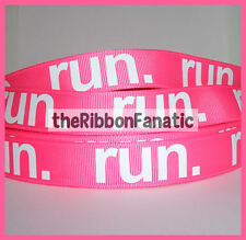 "3 yds 7/8"" Run Neon Pink Running Runner Grosgrain Ribbon Marathon Fitness"