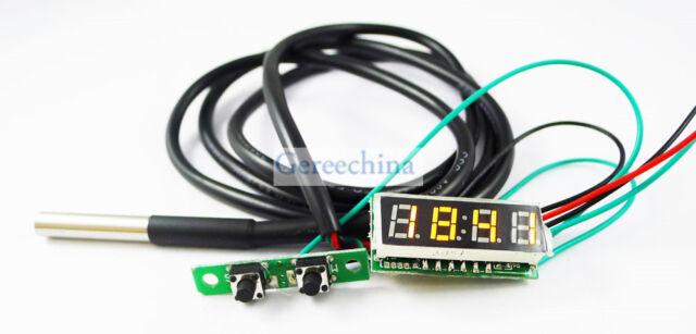 """0.28"""" Yellow LED 3 in 1 Digital Probe thermometer Car Clock/Voltmeter temp meter"""