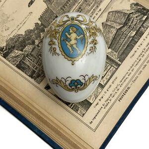 Limoges France Gold Blue Cherub Egg  Trinket Jewelry Box