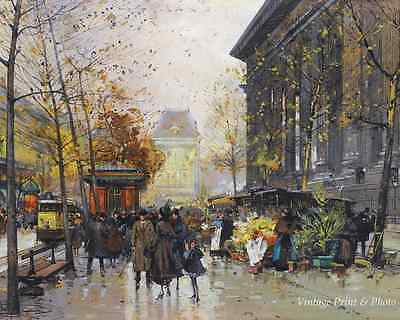 Paris in March by Eugene Galien-Laloue Art Rainy Day Flower Stall 8x10 Print 359