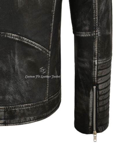 Homme Cuir Véritable Veste Noir Vintage Matelassé Épaule Classique Style Motard 2565