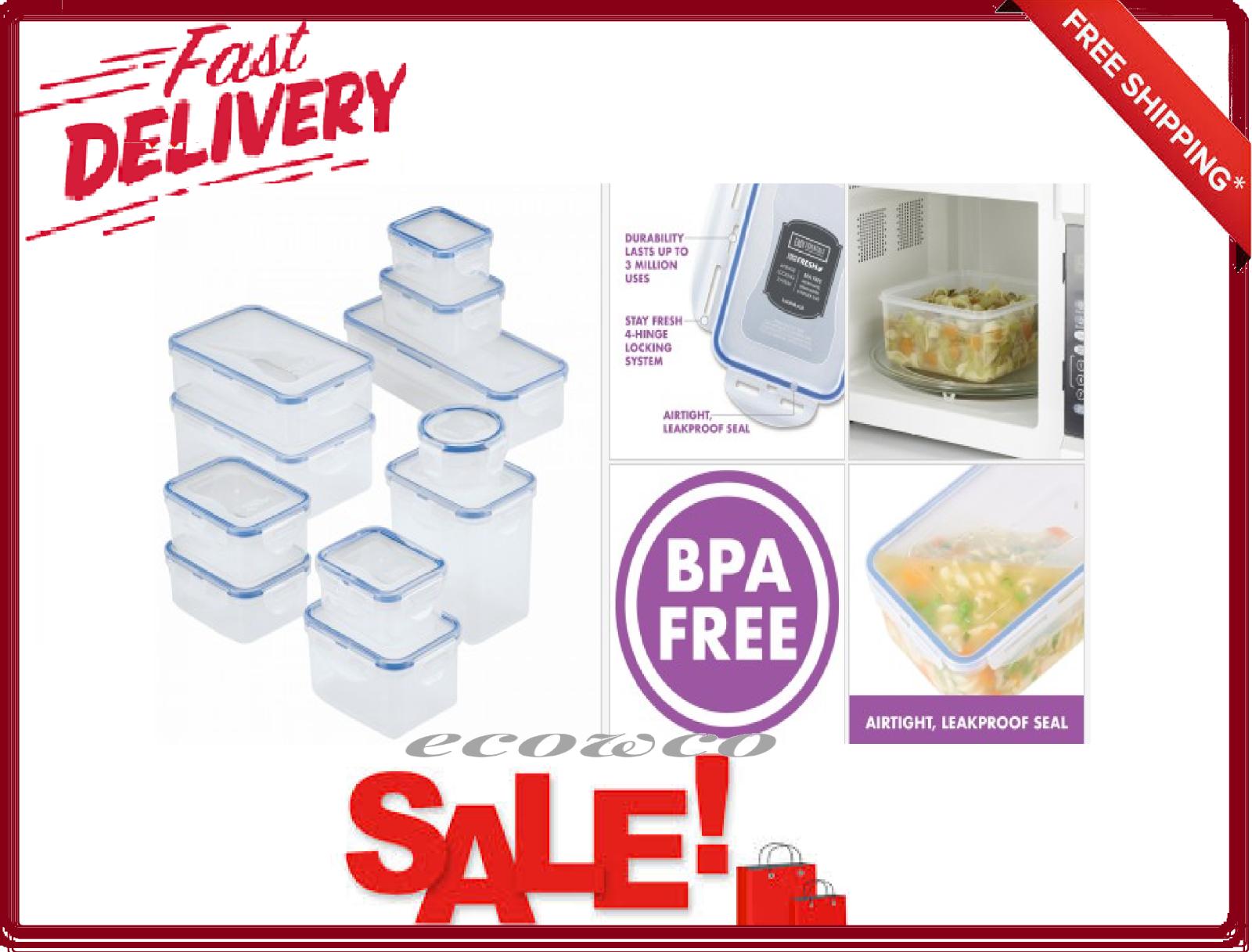 22 Piece Food Storage Container Set With Lock Rectangular Kitchen Essentials For Sale Online