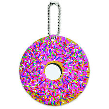 Pink Donut Sprinkles Round Luggage ID Tag Card Suitcase Carry-On
