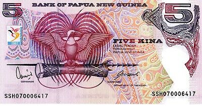 PAPUA NEW GUINEA 5 Kina 2007 P34 South Pacific Games UNC Banknote