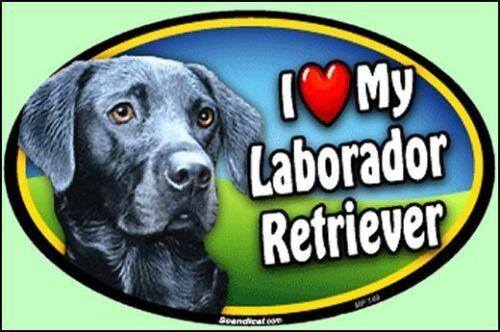 "- 6/"" x 4/"" Oval Fridge // Car Dog Magnet my Black Lab Labrador Heart I"