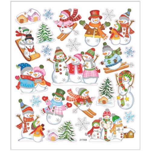 Skiing Snowmen Foil Metallic Colourful Glitter Stickers 15cm Self Adhesive Sheet