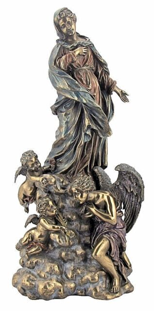 Madonna With Angels Statue Catholic Virgin Mary 13