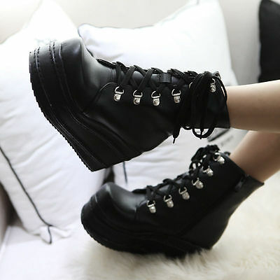 Women's Punk Boots Platform Lace up Creepers Gothic Shoes Slouch Combat Boots