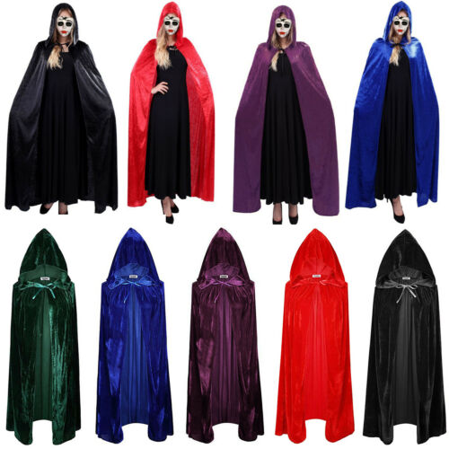Women Medieval Gown Dress Renaissance Gothic Hooded Cloak Cape Robe Costume US