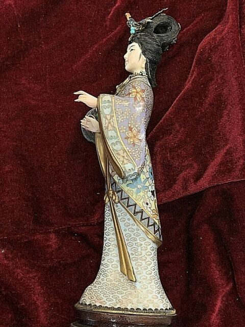 Vintage Chinese Cloisonne Female Figurine. Carved Face & Hand. 10.25