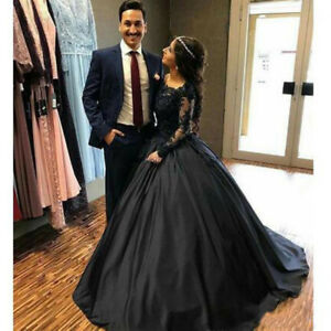 Black Lace Satin Gothic Wedding Dresses With Long Sleeves Bridal