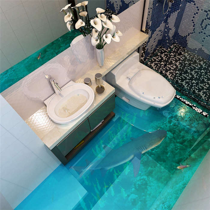 Clear Water Fish Coral Reefs 3D Floor Mural Photo Flooring Wallpaper Wall Decal