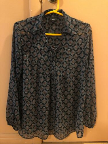MOSSIMO Womens SMALL Peasant Blouse Lace