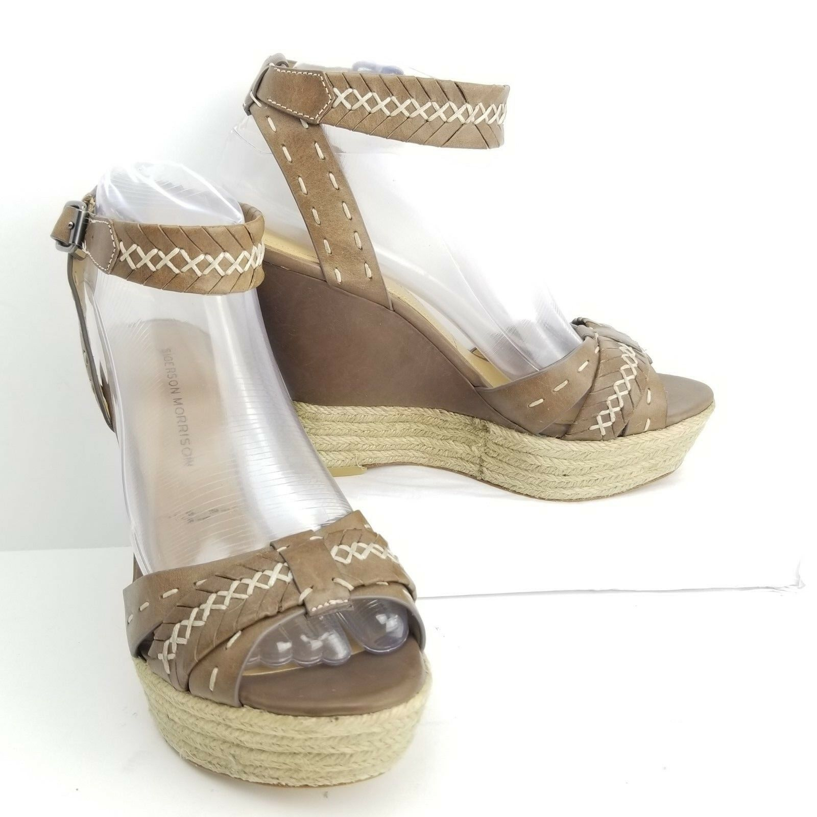 Sigerson Morrison Espadrille Wedge Size 7 Brown Leather Ankle Strap Peep Toe Wmn