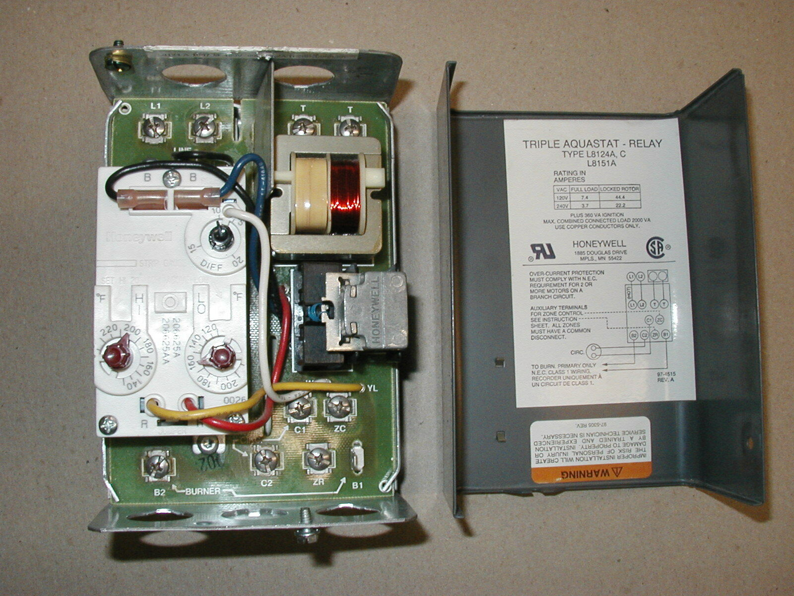 Honeywell Triple Aquastat Wiring Auto Electrical Diagram Taco L8124a Oil Burner Relay Control Ebay Rh Com