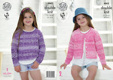 e8be67ad4 Girls Sweater   Cardigan Double Knitting Pattern King Cole Kids Vogue DK  4462