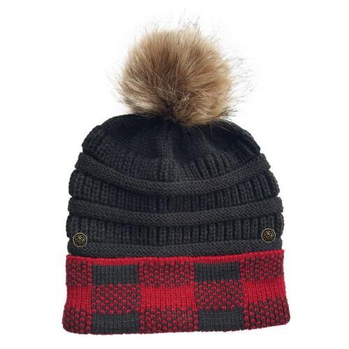 Women Messy Bun Crochet Cap Ponytails Beanie Hat Winter Warm Chunky Knitted Ski