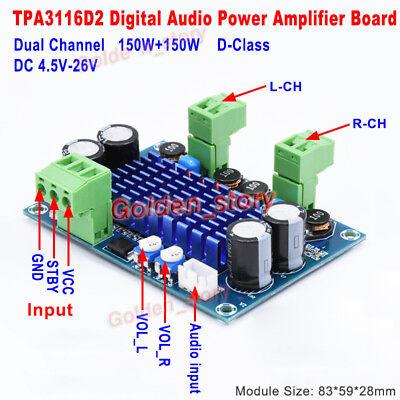 DC 5V 12V 24V 2*150W TPA3116 D2 Dual Channel Mini Digital Audio Amplifier  Board | eBay