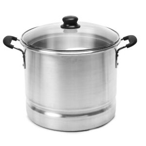 Details about 20 Qt Steamer Glass Lid Tray Aluminium Large Cooking Pot  Kitchen Cookware Round