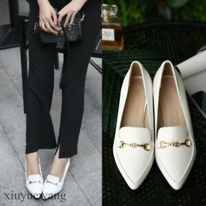 Womens-Pointy-toe-High-Wedge-Heel-PU-Leather-Pumps-Slip-ons-Loafers-Party-Shoes