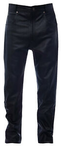 Mens-Black-039-501-039-Style-Leather-Jeans-Classic-Biker-Cowhide-Motorcycle-Trousers