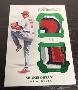 2-5-SHOHEI-OHTANI-2018-Flawless-Rookie-Dual-Letter-Jersey-Patch-Angels-Emerald