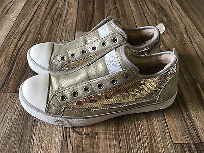 UGGS Laela GOLD Sneakers leather suede  SEQUINS 8 Lined Slip On Shoes