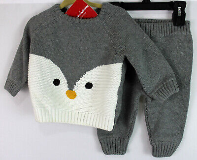 Hanna Andersson Owl Critter Sweater Knit Set Outfit Organic Size 60 3-6 NWT