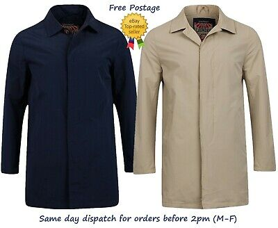 New Mens Tokyo Laundry Mac Coat Trench Button Up Smart Collar Shower Resistant