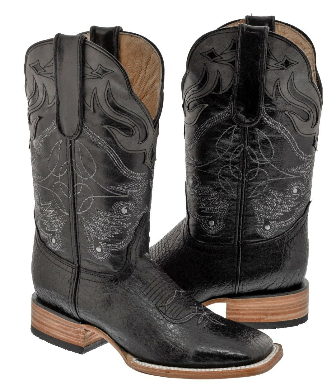 Mens Jet Black Gray Overlay Western Design Leather Cowboy Boots Western Overlay Wear Square Toe ea321c