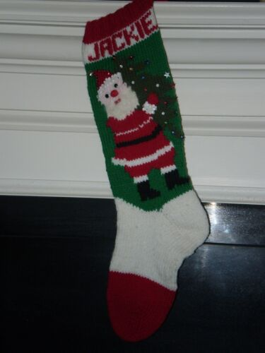 Free Shipping Santa with tree Christmas Stockings Handknitted /& Personalized